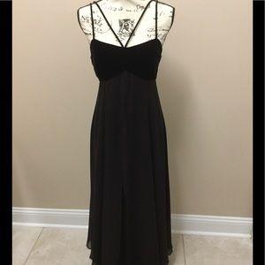 Tahari plum silk and velvet evening dress