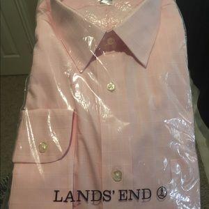 NWT pink plaid Lands' End men's button down