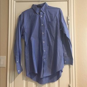 NWOT Lands' End lue No Iron Pinpoint Oxford