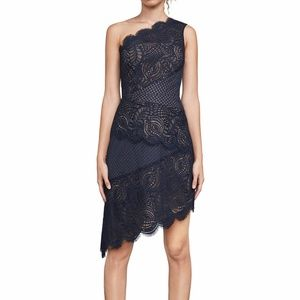 BCBG Alisha One Shoulder Lace Cocktail Dress