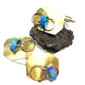 Anthropologie Copper Verdigrais 3 Ring Set