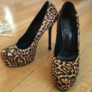 YSL leopard pony hair pumps