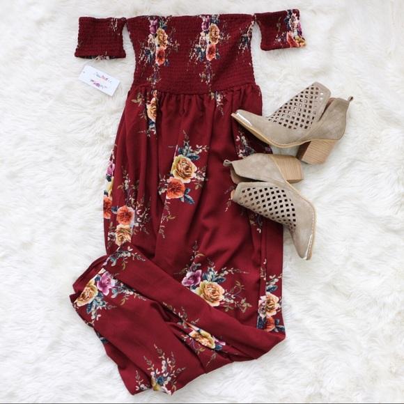 f82f935cf7f0 Dresses   Skirts - Burgundy Off Shoulder Long Maxi Dress Wine