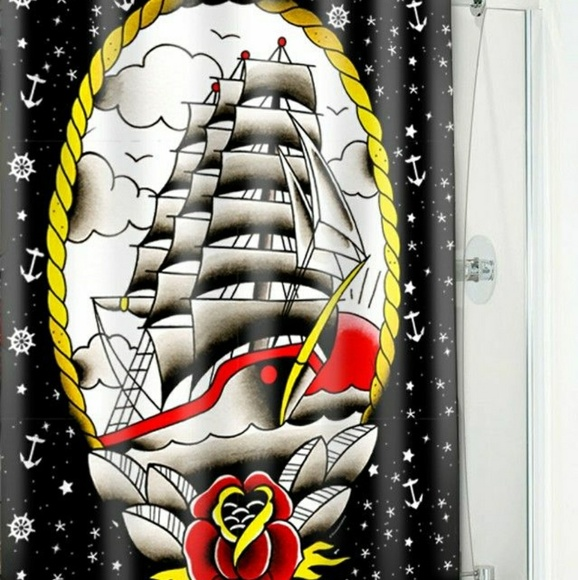 Sourpuss Clipper Ship Shower Curtain Tattoo Art