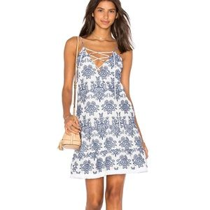 Nicholas Embroidered Lace Up Dress in White & Blue
