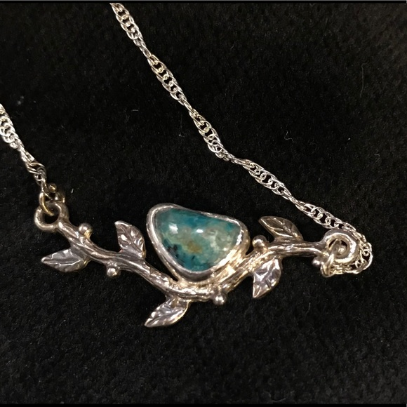 "CBL Jewelry - Eilat/Chrysocolla ""bird on a branch"" 925 necklace"