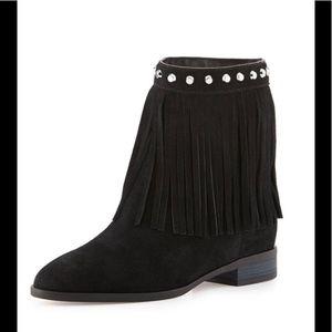 Michael Michael Kors black suede fringe boots