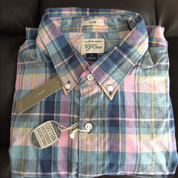 New J Crew Secret Wash Poplin Shirt Long Sleeve Plaid Heather Gray Red NWT