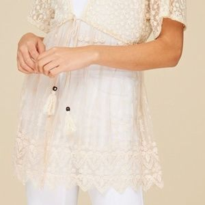 Annabelle Tops - NEW CREAM VINTAGE LOOK LACE CARDIGAN TOP BLOUSE