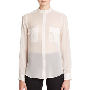 NWT BCBG MAX AZRIA Sheer Silk Blouse Shirt Top