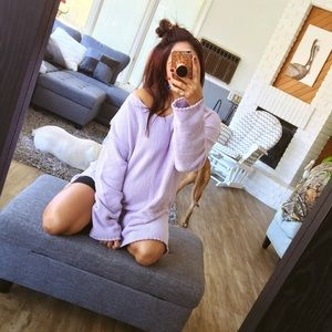 Sweaters - Lilac plush oversized jumper