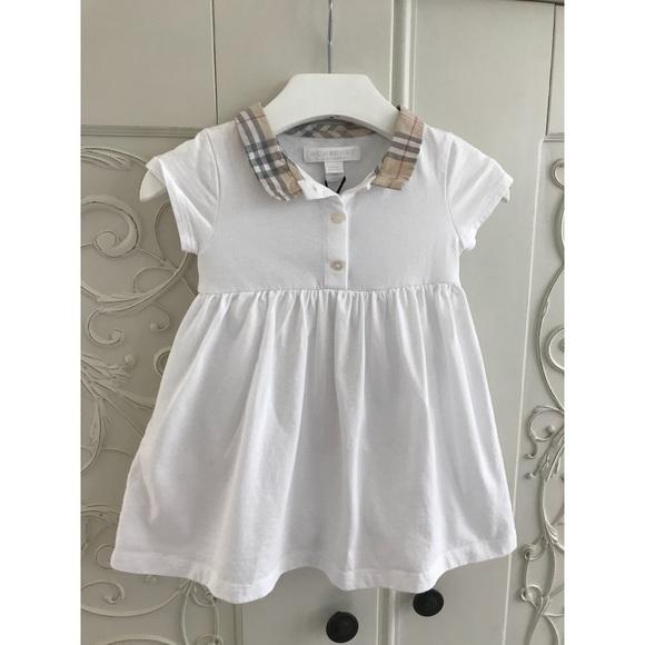 4649857057ca BURBERRY baby girls white   check collared dress