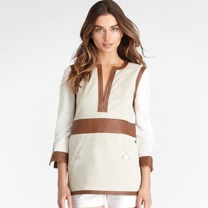 "Tory Burch cotton and leather ""Florence"" tunic"