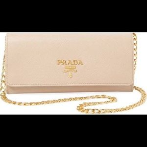 Prada wallet on chain in beige/pink