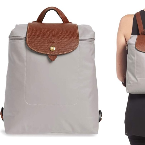 New longchamp le pliage backpack putty color