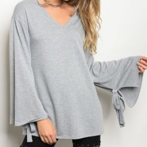 Heather Grey Bell Sleeve Top