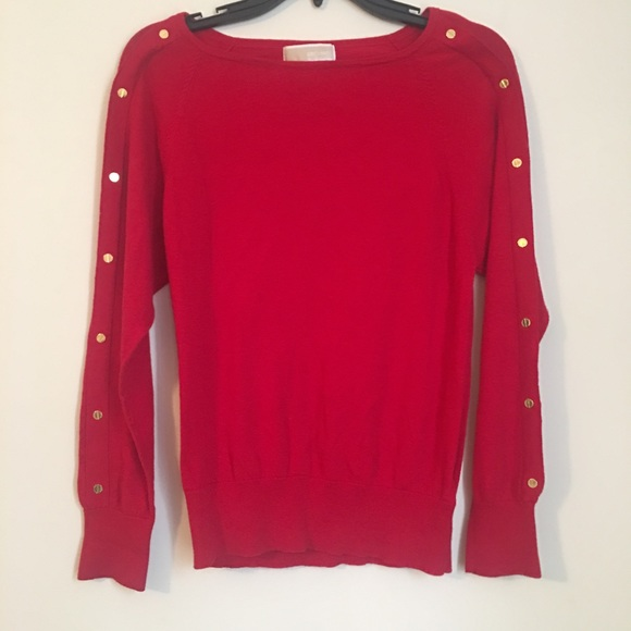 a5ada8ae8bbf Red boat neck MICHAEL KORS sweater w gold buttons.  M 5a09e628ea3f36dfd217810b