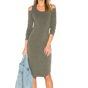 Monrow Cut out Shoulder Dress in Olive