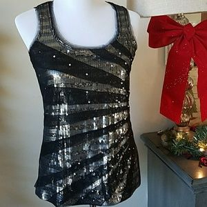 Tops - WHBM Black Silver Sequin Tulle Tank Size S