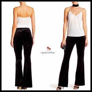 BLACK Velvet Knit Pants Flared Bottom LEGGINGS