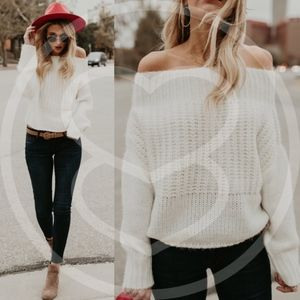 AIKO Off Shoulder Knit Sweater - CREAM