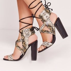 Missguided Snake Print Cross Strap Heels