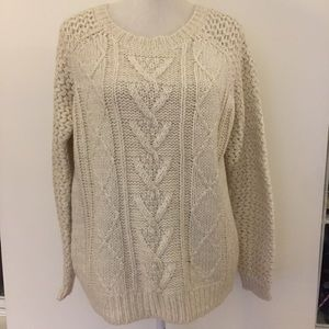 Cynthia Rowley off white wool cable knit sweater