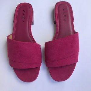 Zara pink slide on flats