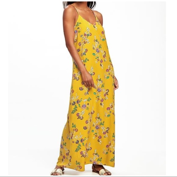 Plus size floral print mustard maxi dress NWT
