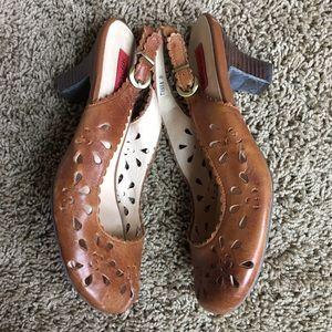 Miz Mooz Shoes - Miz Mooz Tania brown leather slingbacks, sz 8