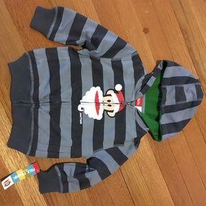 2T Paul Frank Christmas Zipper Hoodie (Grey Strip)