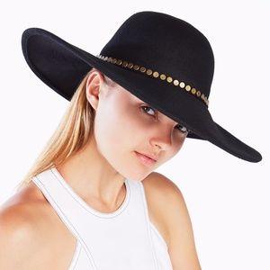 Bcbgmaxazria Black Studded Floppy Hat NEW