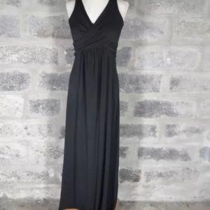 Long black wrap front Maternity Maxi dress large