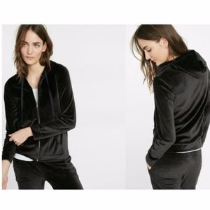 Express One Eleven Velour Zip Front Hoodie - L