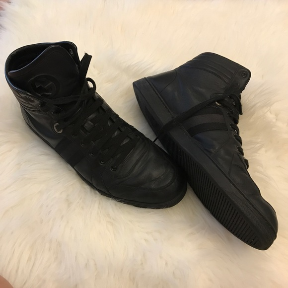 c2e77eb503f1b Gucci Other - Men s Gucci Black Leather High Top Sneakers