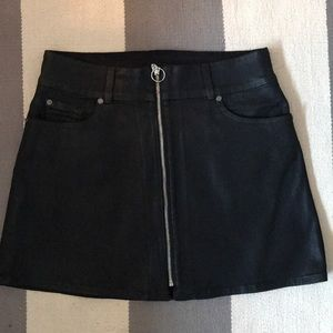 7 For All Mankind Zip Leather Skirt
