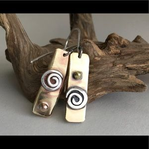 Boho bronze, brass and sterling silver earrings