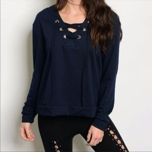 Tops - Lace up knit top - NAVY