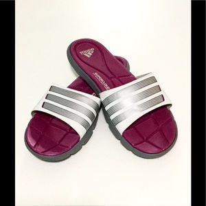 58b0d74cf6ffb2 adidas Shoes - Adidas Slides Pink and White with Cloudfoam Soles
