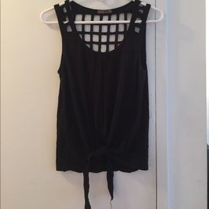 Front tie tank with cut out design