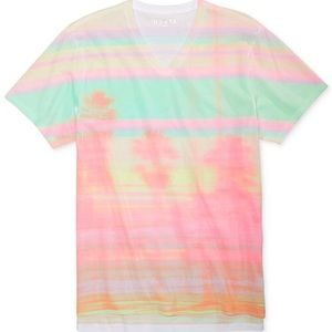 Men's GUESS Abstract Pastel V-Neck Tee, NWT