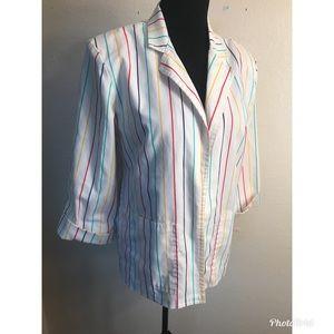 Vintage Jackets & Coats - Vintage rainbow stripe blazer jacket coat