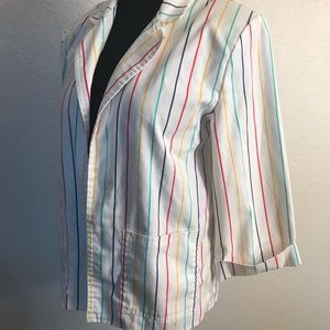 Vintage Jackets & Coats - Vintage rainbow stripe blazer jacket coat