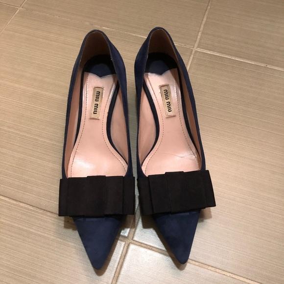 Miu Miu suede low heel bow pump