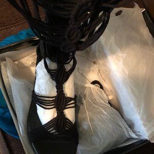 NWT Black knee high thin strappy heels