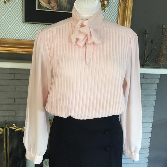 05787d531a658c Pink Vintage Secretary Blouse pussy bow blouse. M_5a0a02cf2fd0b7a82b17d474