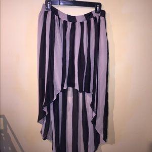 Striped High waisted high low skirt