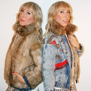 Vintage Denim & Real Rabbit fur Reversible Jacket