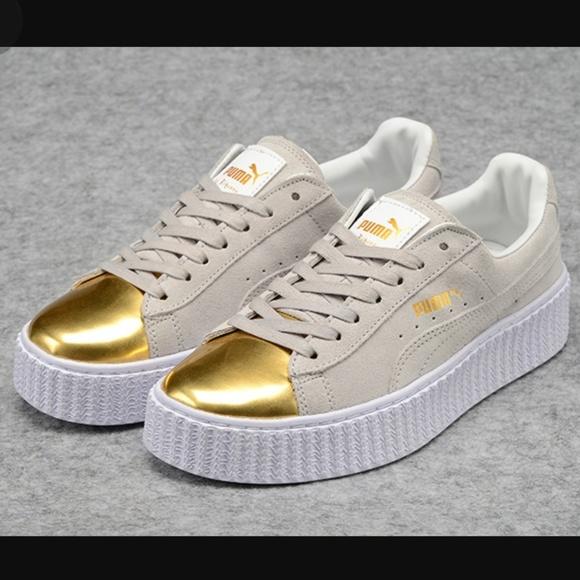 timeless design 6650d 87fc9 Puma Suede Platform Gold Toe Shoes