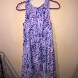 High low dress w high neck and blue purple print